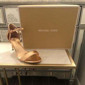 Michael Kors Simone Mid Sandal Heels Rose Gold